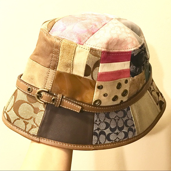 Coach Accessories - Coach Womens Leather & Patchwork Crush Hat
